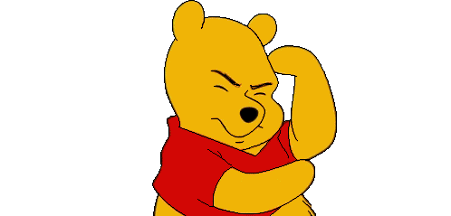 Pooh scratching his head